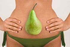 Woman with pear shape go for higher cut bottoms not the boy shorts.