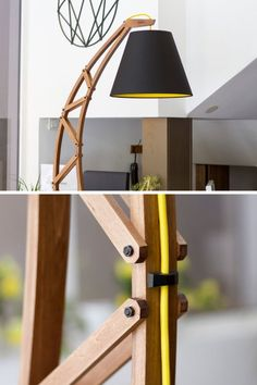 Lighting Ideas - Paladim Design Workshop has created 'ARKA', a modern floor lamp that combines wood with metal accents, a black shade, and a pop of yellow. Diy Floor Lamp, Unique Floor Lamps, Wooden Floor Lamps, Contemporary Floor Lamps, Wooden Lamp, Farmhouse Floor Lamps, Instruções Origami, Lamp Light, Lighting Ideas