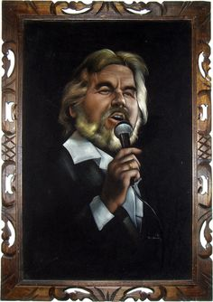 Kenny Rogers black velvet painting.  Definitive kitsch.