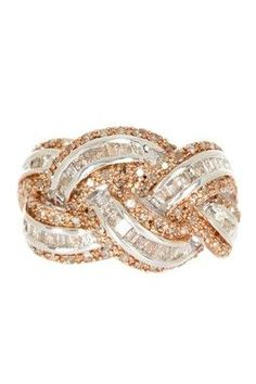 Savvy Cie Braided Champagne & White Diamond Ring 1.25 ctw,  Gorgeous!!