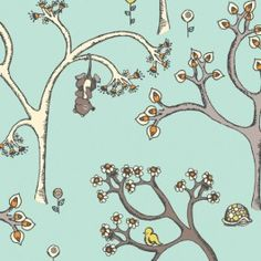 Spring Trees – Scamper – Rebekah Ginda – Birch Fabrics – Last 31 inches – Poster Retro Fabric, Blue Fabric, Forest Wallpaper, Spring Tree, Textile Texture, Contemporary Fabric, Forest Friends, Surface Design, Baby Quilts