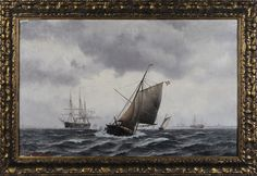 "Johan Jens Neumann. ""Harbor Scene"". I have always loved paintings of old ships, and this one is one of my favorites. Sold for $2,124 on May 12, 2012."