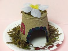 A Fairy House Craft (from the Fairy Book Party) Just a peat pot, some moss, and a paper plate (all from the dollar store)