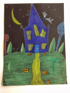 We are getting an early start on Halloween this year in 4th grade! We did these Halloween houses by drawing them together step by step in ...