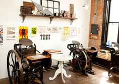 Constellation & Co. Letterpress Machine, Letterpress Printing, Exterior Design, Interior And Exterior, Brick And Mortar, Printing Press, Retail Space, Studio Ideas, Bookbinding