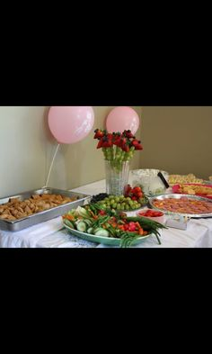 Food For the Baby shower, Pigs In the blankets, Fruit Giraffe  and Veggies