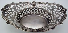 ENGLISH Silver Plate Pierced Nut Bowl FACES