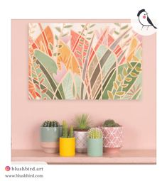 BlushBird is an online store that sells affordable art, organized by color palettes and is available as prints, canvas, tote bags and pillows. Affordable Art, Flocking, Palette, Display, Trends, Canvas, Artwork, Pink, Painting