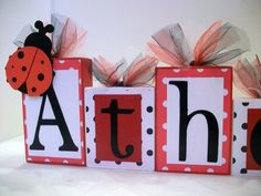 Ladybug Personalized Wooden Blocks - Any name - Baby - Teacher - Classroom Decor - Family - Baby Shower- Photo Shoots. $6.00, via Etsy.