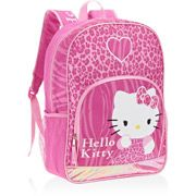"""Hello Kitty Leopard Print and Hearts 16"""" Backpack"""
