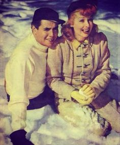 Desi Arnaz and Lucille Ball. this is such a great picture of them