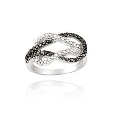 Sterling Silver Black Diamond Accent Love Knot Ring SilverSpeck.com,