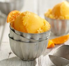 Get Orange or Pineapple Sorbet Recipe from Food Network Mango Sorbet, Peach Sorbet, Coconut Sorbet, Fruit Sorbet, Pineapple Sorbet, Whole Food Recipes, Dessert Recipes, Cooking Recipes, Jelly Recipes