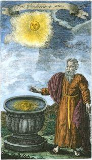 Alchemy:  Engraving from Gottleib Märker Schema Universale, 1772.  An Alchemy artwork.