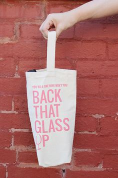 Calling all wine lovers.plus a giveaway from Back That Glass Up Wine Tote, Gifts For Wine Lovers, Little Gifts, Giveaway, Words, Glass, Drinkware, Tiny Gifts, Horse