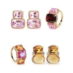 Elegant Three Stone Garnet Pink Topaz Ring with Gold Rope Twist Border