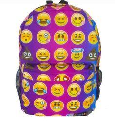 Women Canvas Emoji Backpack Girls Cute Rucksack Students School ...