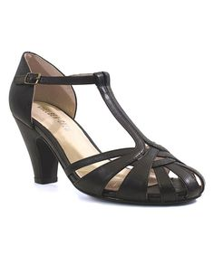Look at this Black Sergi T-Strap Pump on #zulily today!
