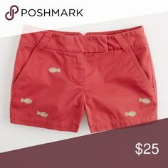 """36e1821544cc J. Crew 3"""" Embroidered Broken In Chino Shorts Sz 4 Adorable coral chinos  with"""