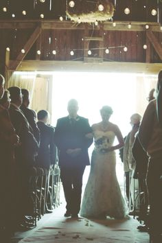bride & dad down the aisle, country barn wedding