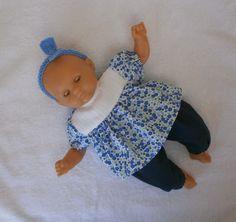 Habits poupon 30 cm - ensemble pantalon et tunique fleurs bleues : Jeux, jouets par mcl-poupees