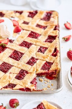 A flaky and delicious lattice-topped summer pie with a sweet strawberry filling! Serve slices with vanilla ice cream and fresh strawberries. Recipe by Laura Kasavan of Tutti Dolci.   #californiastrawberries #slabpie #strawberrypie #berrypie #summerdesserts #strawberrydessert #bakingathome #pierecipes #latticepie Summer Desserts, Just Desserts, Delicious Desserts, Yummy Food, Strawberry Dessert Recipes, Strawberry Filling, Sweet Recipes, Cake Recipes, Yummy Treats