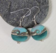 Seashore Teal Green Matt Glass & Sterling Silver Earrings, Turquoise Glass, Lampwork Jewelry, Handmade, Glass Jewelry, Turquoise Glass Beads by MarianneDegener on Etsy