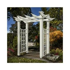 New England Arbors Fairfield Deluxe 7.75 Ft Vinyl Arbor ($600) ❤ liked on Polyvore featuring home, outdoors, outdoor decor, garden decor, lattice panels, new england arbors, vinyl lattice panels and garden lattice panels