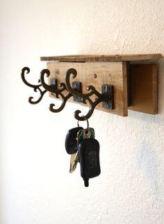 Wood Pallet Key Rack / Reclaimed Wood Coat Rack / by TheRustyWheel