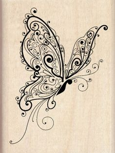 Inkadinkado® Butterfly Wood Stamp, large. If I could transform this into a tattoo. I would add splashes of water color to it.