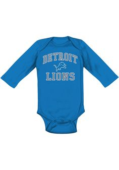 Detroit Lions Baby Blue Design Long Sleeve One Piece - Image 1 Detroit Lions T Shirts, Lion Hat, One Piece Images, Baby Blue, Fan, Long Sleeve, Clothes, Design, Outfits