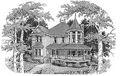 Three Bedroom Queen Anne (HWBDO64441) | Queen Anne House Plan from BuilderHousePlans.com