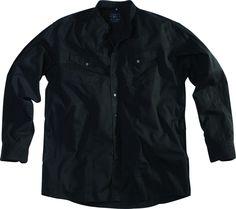 [img-9763-left-thickbox_default] Chemise sans col allsize composé de 100 % coton  Coloris noir Manches longues avec boutons