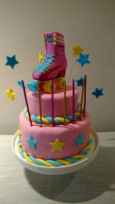 """Ady likes the style of this one best, and says """"but I want it purple, not pink"""" :) Roller Skating Party, Skate Party, Beautiful Cakes, Amazing Cakes, Soy Luna Cake, Roller Skate Cake, Sofia Cake, Son Luna, Cake Shop"""