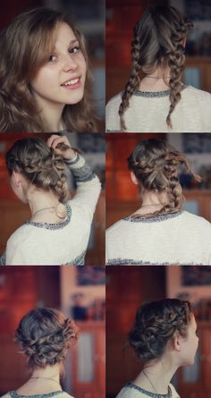 Love this, since my hair is layered the messy look of the braids not being perfect fits in! Put Ups Hairstyles, Pretty Hairstyles, Love Hair, Great Hair, Beauty Crush, Beach Wedding Hair, Braided Updo, Milkmaid Braid, Easy Updo
