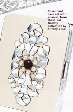 The Great Gatsby   Silver card case set with enamel and pearls for the Great Gatsby collection at Tiffany & Co.