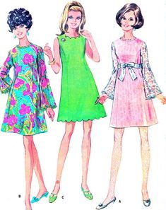 1960s Dress Pattern McCalls 9501 Bell Sleeve Mod by paneenjerez, $16.00