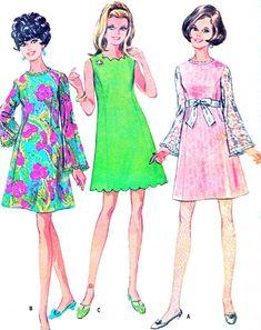 1960s Dress Pattern McCalls 9501 Bell Sleeve Mod by paneenjerez, $16.00