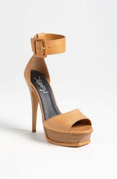 """Saint Laurent Brown """"Tribute"""" Ankle Strap  Sandal #Shoes Heels"""