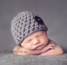 Little Mister Newborn Baby Gray Beanie Hat by BeautifulPhotoProps, $23.00