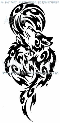 Wolf And Fox + Full Moon Tribal Design by WildSpiritWolf