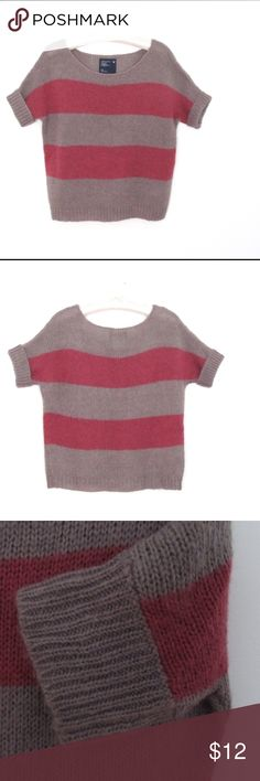 """AE bold stripe sweater This is a loose knit, horizontal striped, short sleeve sweater.  Perfect for spring.  It has a flattering scoop neckline and dolman style sleeves.  Ribbed cuffs and hem.  The first two full photos are accurate colors-taupe and a pinkish berry.  Cut is slightly oversized, 22"""" long.  Fabric is 75% acrylic, 15% wool, 10% mohair. American Eagle Outfitters Sweaters Crew & Scoop Necks"""
