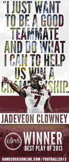 Jadeveon Clowney wins an ESPY. Something tells me this won't be the last football award he wins...
