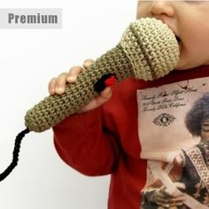 Crochet microphone this is a must in our house! Momma and Papa lead worship so my boys are always singing. Crochet Baby Toys, Crochet Toys Patterns, Amigurumi Patterns, Stuffed Toys Patterns, Crochet Animals, Crochet Dolls, Crochet Yarn, Crochet Music, Love Crochet