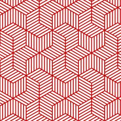 chevron 6 bars : red outline fabric by sef on Spoonflower - custom fabric