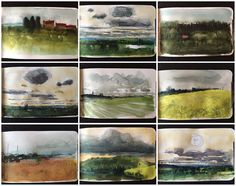 Small sketches - Snippets of landscape through a train window. David A Parfitt RI www.davidparfitt-art.co.uk