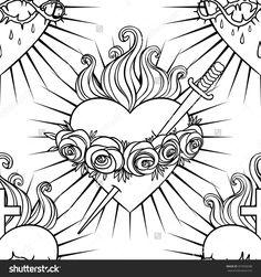 Sacred Heart Of Jesus Stock Vectors & Vector Clip Art Jesus Tattoo, Christ Tattoo, Memento Mori, Sacred Heart Tattoos, Doodle, Simple Line Drawings, Tattoos Skull, Heart Illustration, Design Tattoo