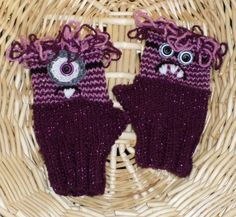 Children's Comical Evil MINION-Like Wrist Warmers FINGERLESS GLOVES Crochet and Knitted by FASHIONABLEINFANT on Etsy