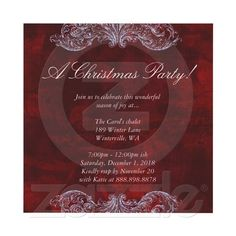 Christmas Wedding Invitation Red Vintage Rose from Zazzle.com