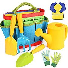 Flykin Kids Gardening Tools 7 Piece Garden tool set for Kids with Watering Can Gardening Gloves Shovel Rake Trowel and Kids Smock All in One Gardening Tote Kids Gardening Set, Kids Gardening Gloves, Organic Gardening, Garden Tool Bag, Garden Tools, Green Toys, Beach Toys, Learning Toys, Gardens